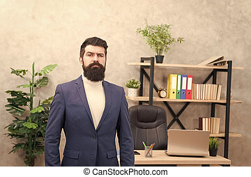 Good boss is good leader. Man bearded hipster boss looking at you with attention. Boss standing in office. Boss receive complaints. Executive director and ceo are leadership titles in organizations