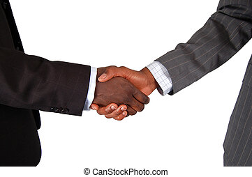 This is an image of two male bodies, representing businessmen in handshake of agreement.