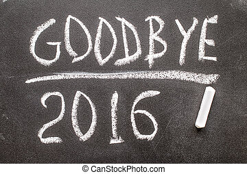 GOOD BYE 2016 text written on chalkboard