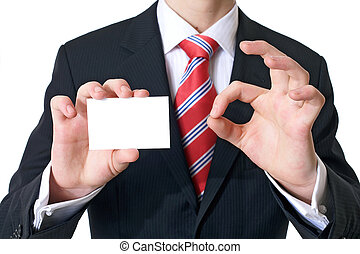 good card - Businessman showing his visitig card