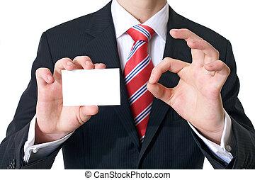 good card - Businessman showing his visitig card
