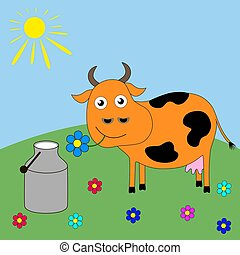 Good cartoon cow grazing in a meadow.