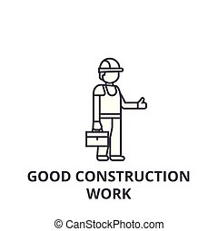 good construction work vector line icon, sign, illustration on background, editable strokes