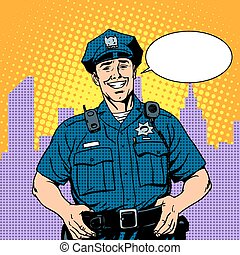 good cop police pop art retro style