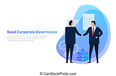 Good Corporate Governance. Business team agree on set of principle and cooperation.