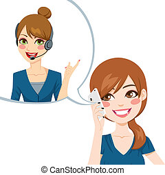 Satisfied woman smiling and having a nice phone conversation receiving good customer service from call center agent