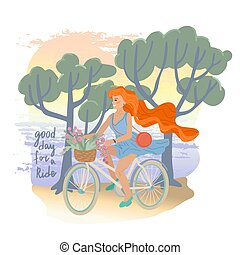 Good day for a ride. Smiling girl with long hair in dress riding a bike. Vector illustration