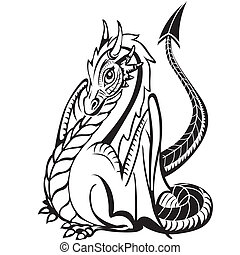 Good dragon. Black and white image.