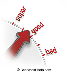 good - abstract illustration of evaluation scale from bad to...