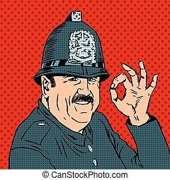English policeman in uniform and helmet shows gesture OK - ...