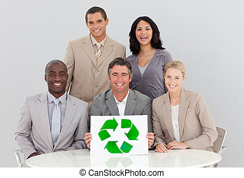 Good environmental practices in a meeting - Business team in...