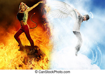 Good & Evil Dancer - Fantasy photo of Angel and Devil dancer...