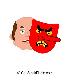 Good face and evil mask. Vector illustration
