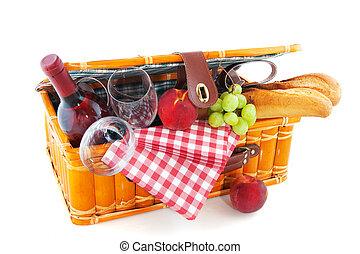 picnic basket - Good filled picnic basket for eating outdoor