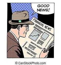 Good financial news businessman reading a newspaper