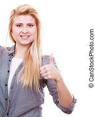 Blonde woman showing thumb up.