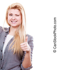 Winking blonde woman showing thumb up.