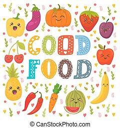 Good food. Cute happy fruits and vegetables in vector. Healthy food concept card