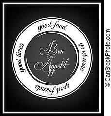 Quote Typographical Background - Good food, food wine, good...