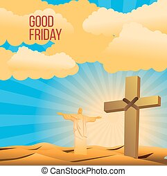 Good Friday background concept  Illustration a Statue of Christ the Redeemer  with arm wide open