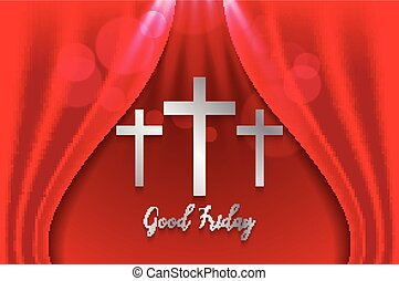 Good Friday. Background with silver cross