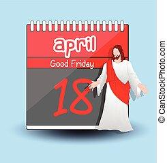 Good Friday Calendar %u2013 Jesus Character Vector Illustration