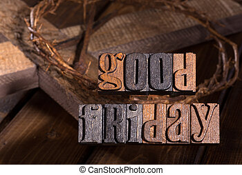 Good Friday Wooden Text
