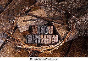 Good Friday Wooden Text