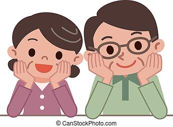 Good friend senior couple - Vector illustration.