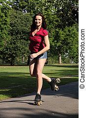 Good fun for long legged girl roller skating