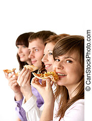 Good funny Caucasian campaign of four people eating pizza