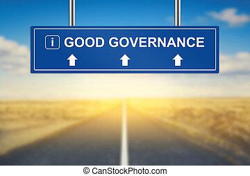 good governance words on blue road sign
