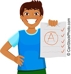 good grades - happy kid presenting a test with a good grade