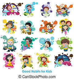 Good Habits Chart - easy to edit vector illustration of good...