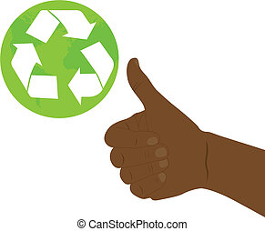 good hand wiht recycle sign over white background. vector