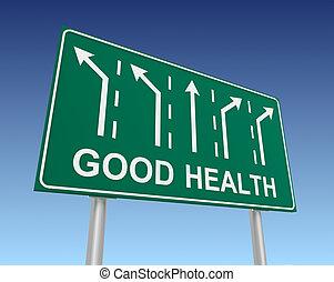 good health road sign 3d illustration