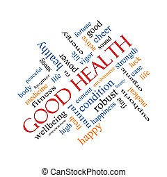 Good Health Word Cloud Concept Angled