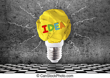 good idea - crumpled yellow paper light bulb with colorful ...