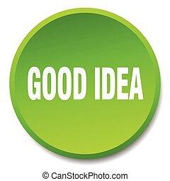 good idea green round flat isolated push button