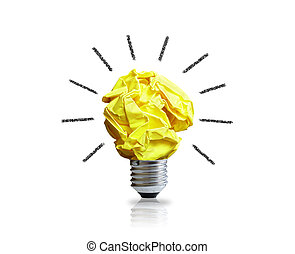Good idea - Inspiration concept crumpled paper light bulb ...