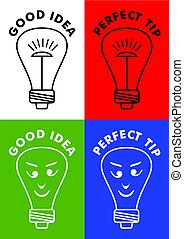 Good idea, perfect tip, four icons with lightbulb, bulb with emoticon face