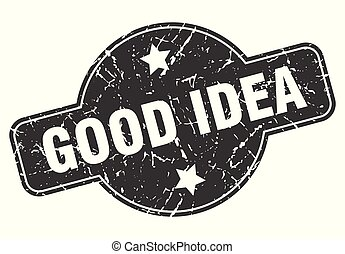 good idea round grunge isolated stamp