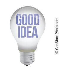 good idea text lightbulb illustration design over white