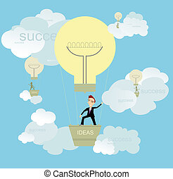 Good ideas and success - Businessman full of ideas flights ...