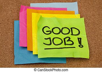 good job - compliment - good job - congratulation, a stack...