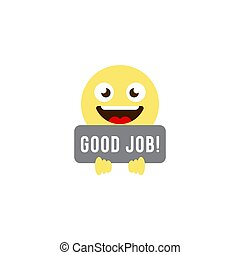 good job emoticons vector icon symbol isolated on white background