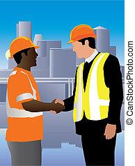Good job! - Engineer shaking hand of worker. Both wearing ...