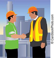 Good job! - Engineer shaking hand of worker. Both wearing...