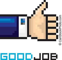 good job vector icon pixel art style. like sign.