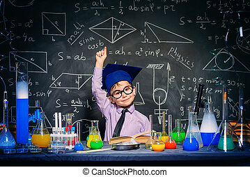 good knowledge study - Little boy scientist in the...